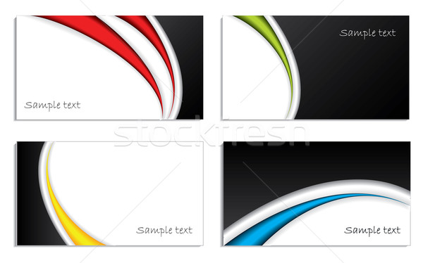 Cool waved business card set  Stock photo © vipervxw