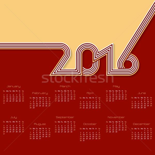 Striped calendar design for 2016  Stock photo © vipervxw
