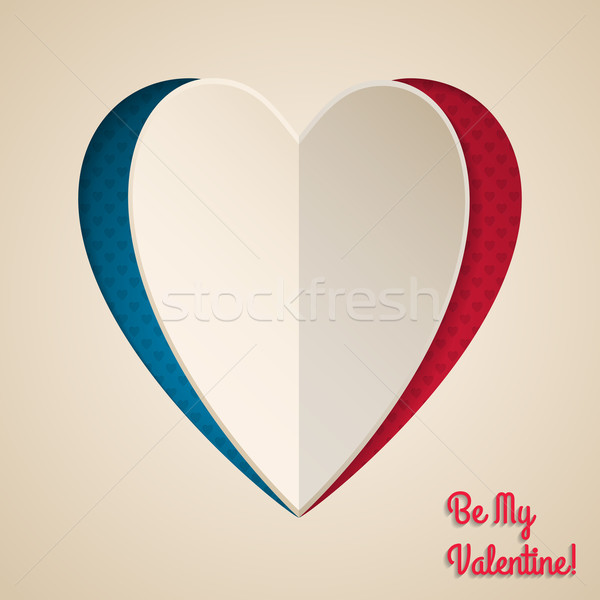 Stock photo: Cool valentine greeting with heart shaped paper peel