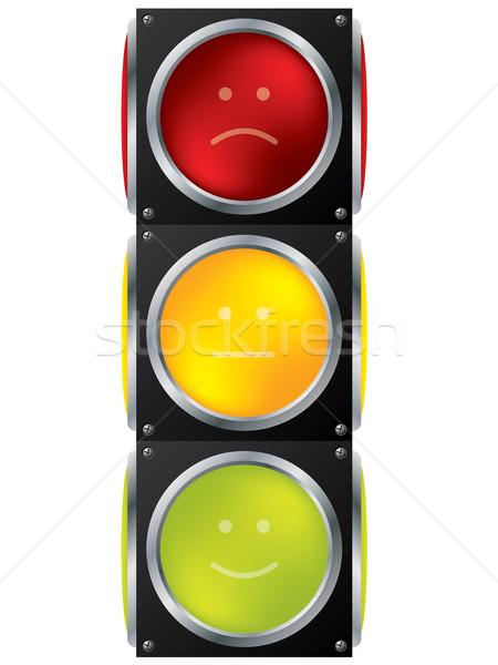 スマイリー 信号 デザイン 白 金属 悲しい ストックフォト © vipervxw
