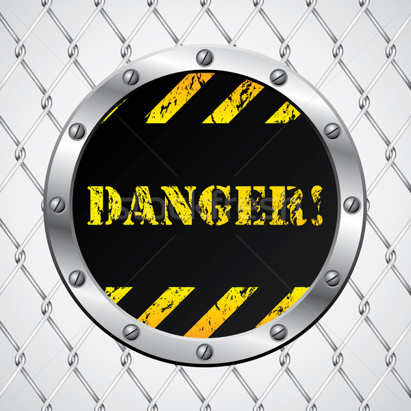 Wired fence with danger sign  Stock photo © vipervxw