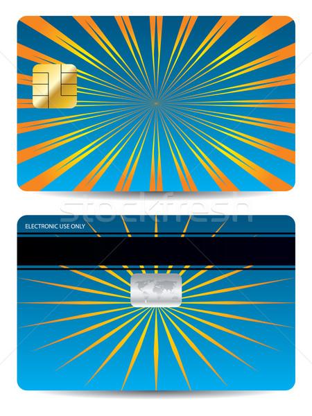 Bursting orange rays on blue bank card  Stock photo © vipervxw