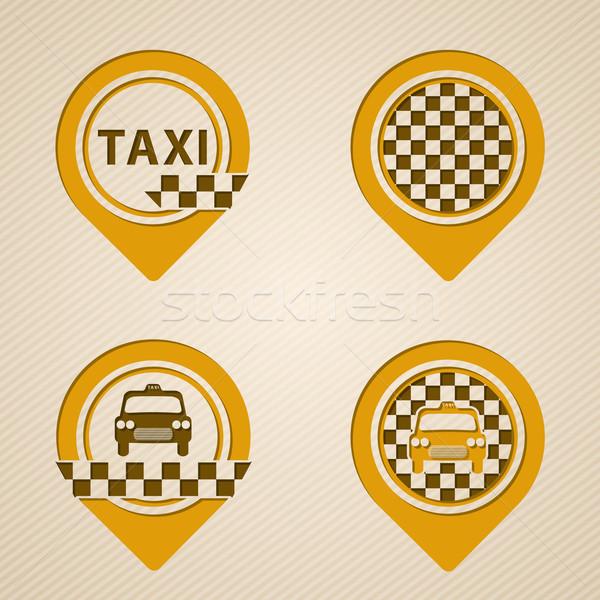 стиль GPS такси Элементы набор автомобилей Сток-фото © vipervxw