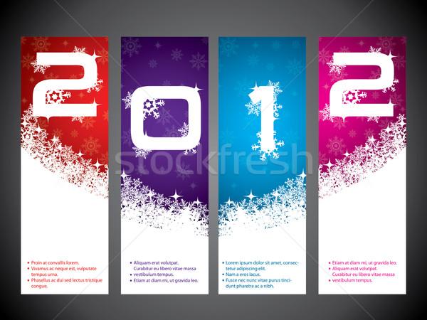 2012 etiqueta conjunto compras arte azul Foto stock © vipervxw