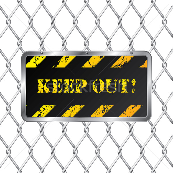 Warning plate with wired fence  Stock photo © vipervxw