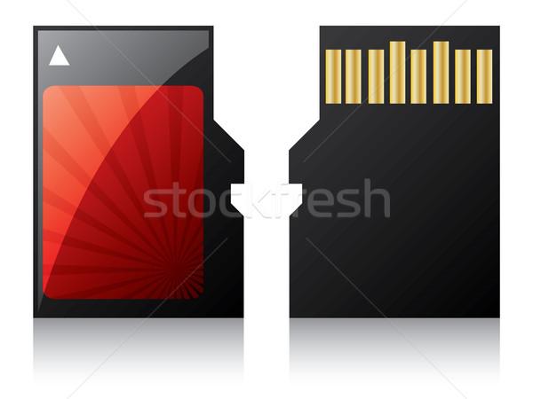 Micro cartão vermelho textura fundo Foto stock © vipervxw