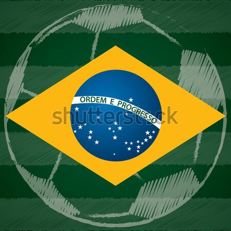 Poster design with Brasil flag and 2014 world cup text Stock photo © vipervxw