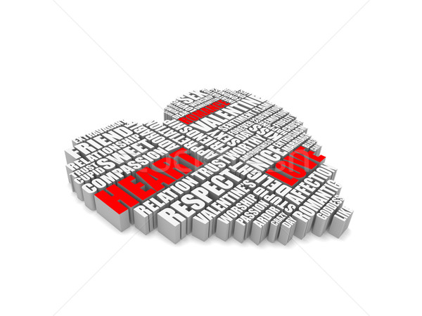 3d group of words shaping a heart Stock photo © vipervxw
