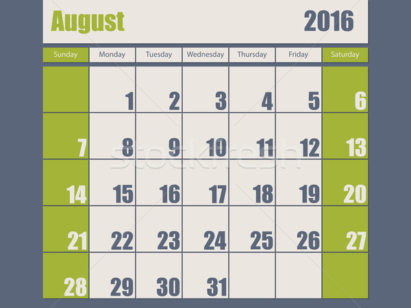 Blue green colored 2016 august calendar Stock photo © vipervxw