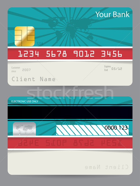 Credit card in turquoise and red with bursting world map Stock photo © vipervxw