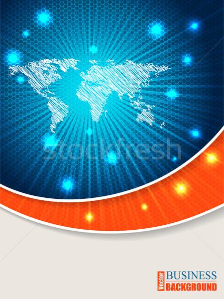 Bursting map brochure with orange wave Stock photo © vipervxw