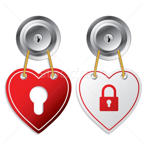 Kalp kapı etiketler kırmızı beyaz Stok fotoğraf © vipervxw