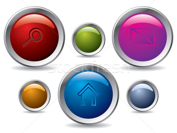 Stock fotó: Webes · gomb · szett · különböző · ikonok · terv · keret