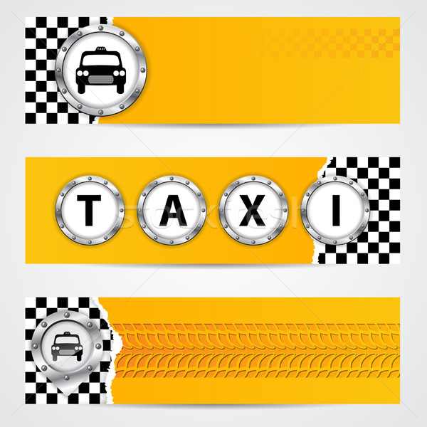 Cool taxi company banner set with metallic elements Stock photo © vipervxw