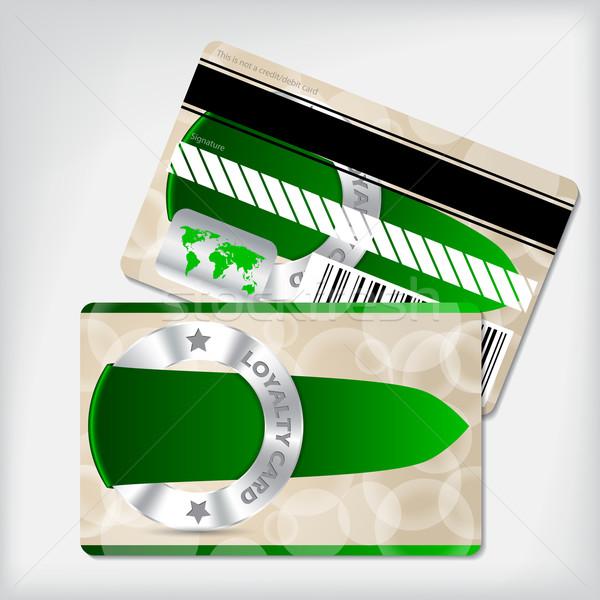 Loyalty card design with green ribbon Stock photo © vipervxw