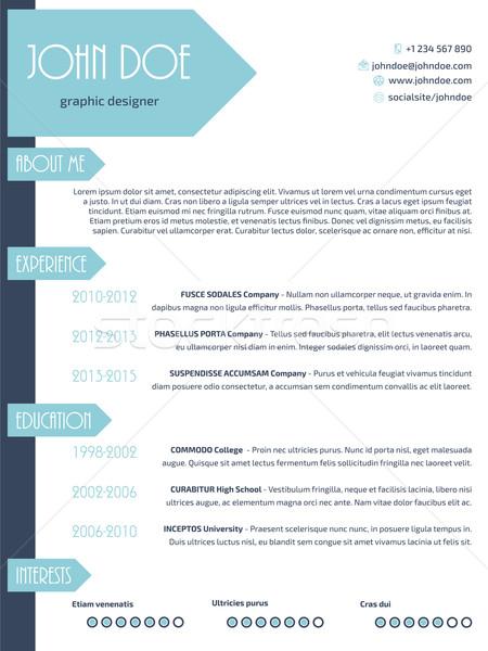 Simplistic modern resume curriculum vitae cv template design wit Stock photo © vipervxw