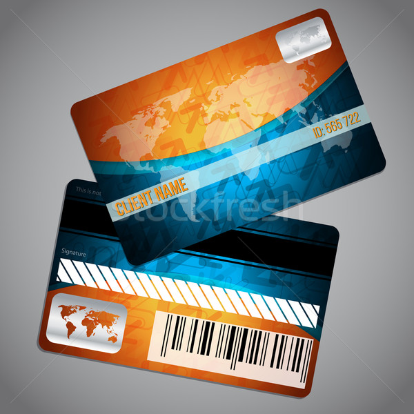 Lealtad tarjeta mapa del mundo azul naranja Foto stock © vipervxw