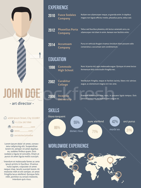 Resume cv template with business man photo Stock photo © vipervxw