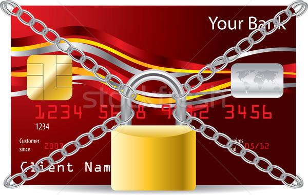 Beveiligde atm kaart Rood creditcard hangslot Stockfoto © vipervxw