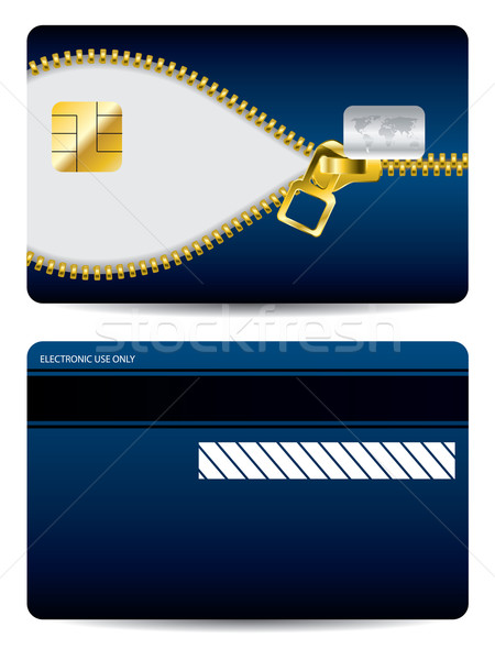 Gold zipper blue credit card  Stock photo © vipervxw