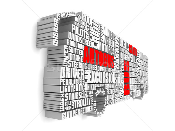 3d group of red white words shaping a passenger bus Stock photo © vipervxw