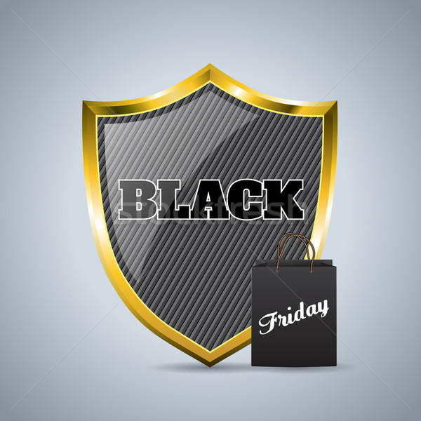 Black friday advertising background design with shield badge and Stock photo © vipervxw