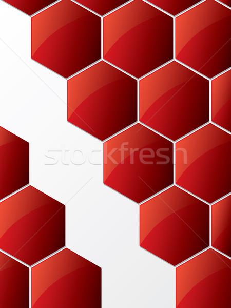 Streszczenie sześciokąt błyszczący czerwony kolor tapety Zdjęcia stock © vipervxw