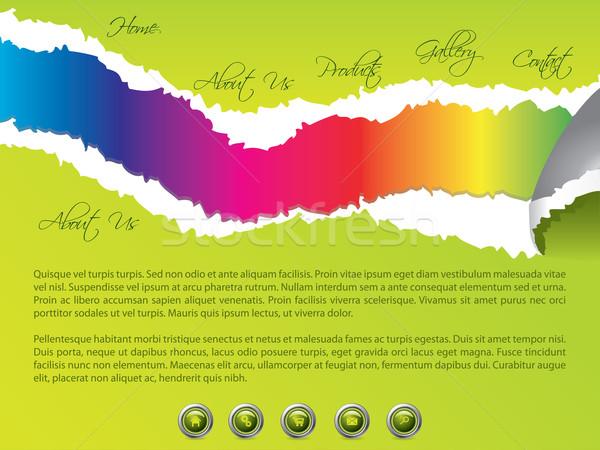 引き裂か ウェブサイト テンプレート 虹色 緑 ビジネス ストックフォト © vipervxw