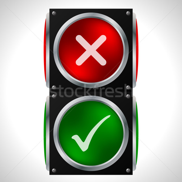 Tick cross symbols on traffic light Stock photo © vipervxw