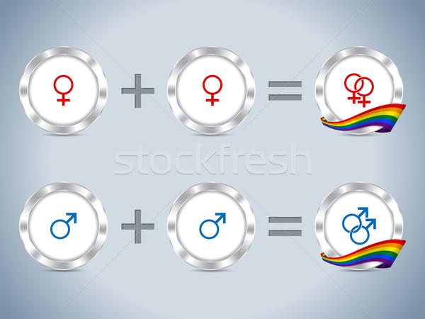 гей лесбиянок флаг жетоны знак Сток-фото © vipervxw