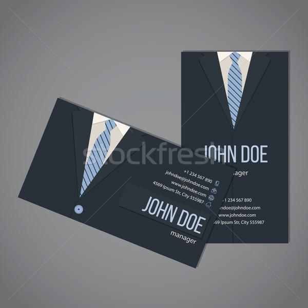 Affaires costume carte de visite modèle design sombre Photo stock © vipervxw