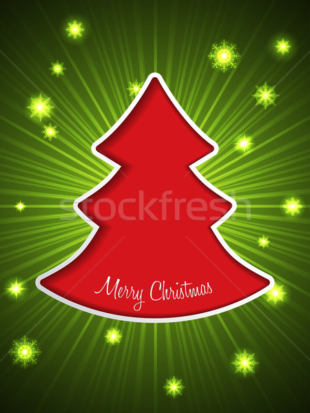 Christmas greeting card with red christmas tree Stock photo © vipervxw