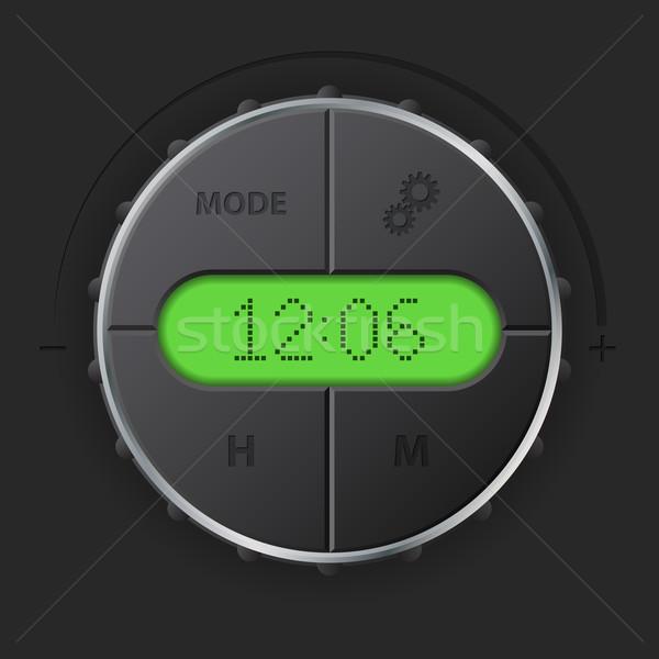Digital relógio verde lcd botões carro Foto stock © vipervxw