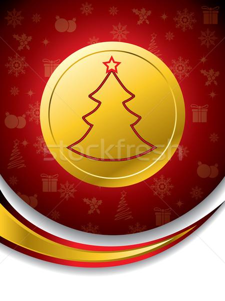 Karácsonyfa forma aranyérem piros textúra művészet Stock fotó © vipervxw