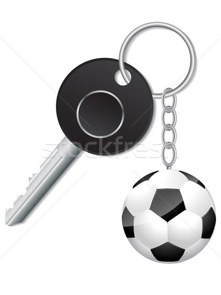 Black key with soccer ball keyholder Stock photo © vipervxw