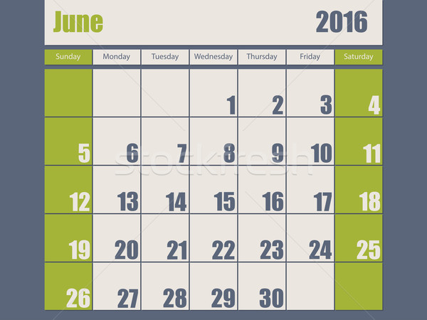Blue green colored 2016 june calendar Stock photo © vipervxw