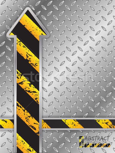 抽象的な メタリック グランジ 矢印 プレート 縞模様の ストックフォト © vipervxw