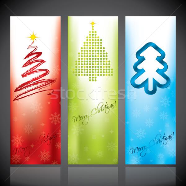 Noel afişler noel ağacı tasarımlar afiş Stok fotoğraf © vipervxw