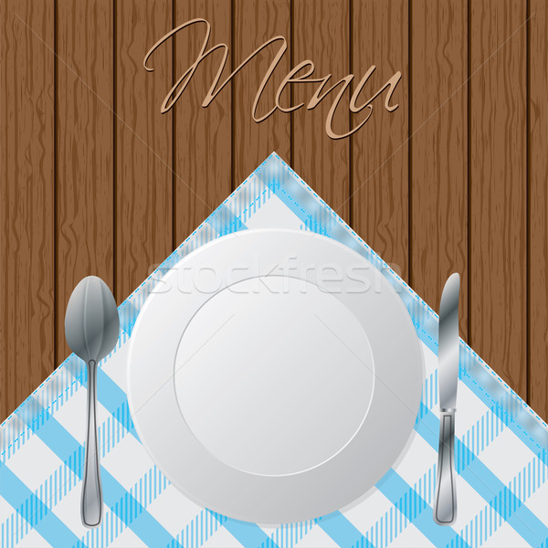 Menu wooden brochure design  Stock photo © vipervxw