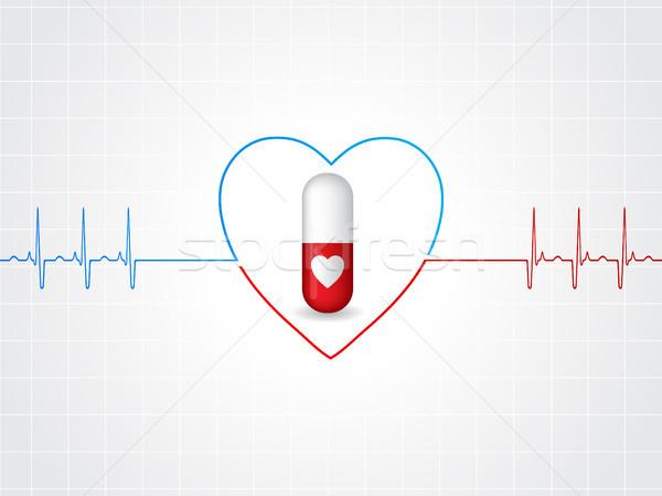 медицинской дизайна сердце таблетки кардиограмма медицина Сток-фото © vipervxw