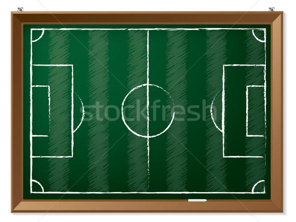 Terrain de football tableau suspendu vert herbe Photo stock © vipervxw