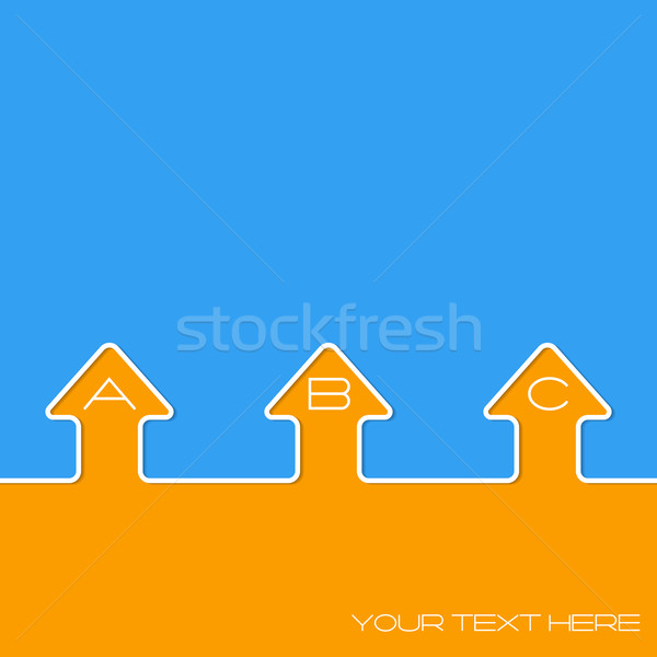 Simple infographic design with arrows and grades on blue orange  Stock photo © vipervxw