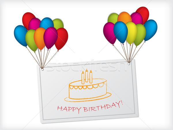Birthday card design hanging on balloons Stock photo © vipervxw