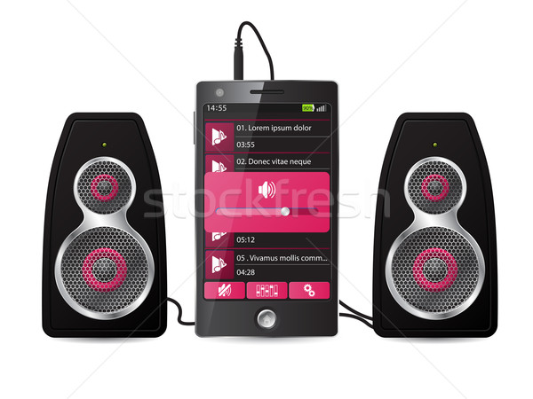 стерео оратора набор телефон играет музыку Сток-фото © vipervxw