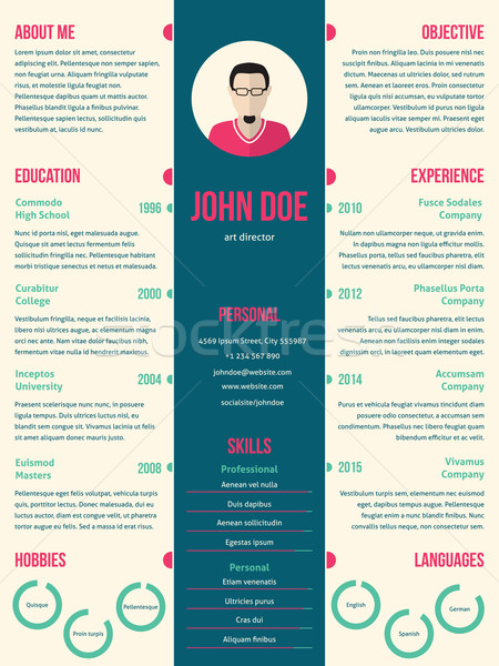 Modern resume cv template for employment Stock photo © vipervxw