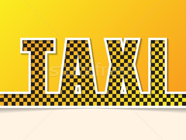 Checkered taxi text on orange background Stock photo © vipervxw