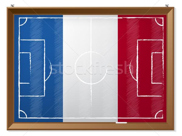 Boisko do piłki nożnej rysunek francuski banderą piłka nożna sportu Zdjęcia stock © vipervxw