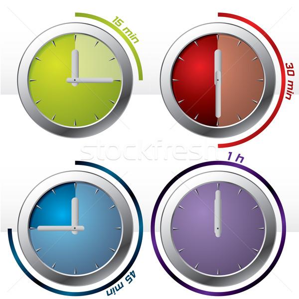 Quatre timer icônes Photo stock © vipervxw
