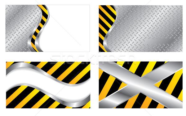Set of 4 construction business cards Stock photo © vipervxw