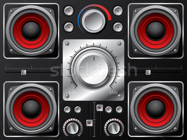 Red speakers with amplifier and knobs  Stock photo © vipervxw